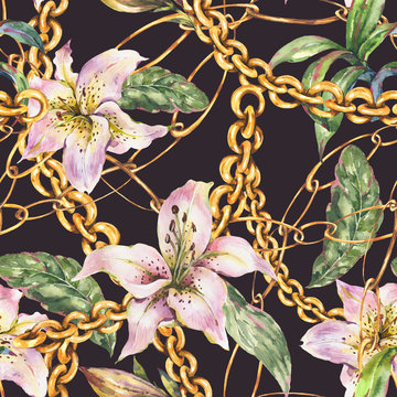 Watercolor gold chains and rings seamless pattern with white royal lilies, fashion vintage luxury elements