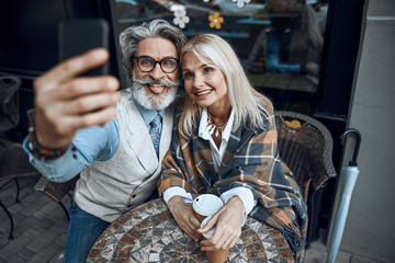 Making funny face for selfie stock photo
