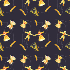 Straw dolls seamless pattern on dark black background. Hand drawn watercolor illustration straw toys of hay. Angels, bird,horse, man and woman