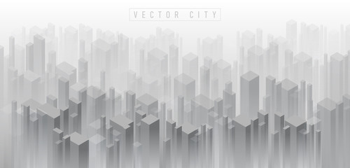 Foto auf AluDibond Weiß Abstract isometric 3D crowded city background of building in misty fog. Panoramic real estate background with skyscrapers. black and white metropolis city concept background.