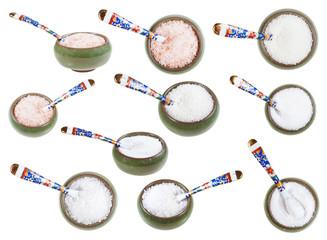 ceramic salt cellar with spoon with various salts