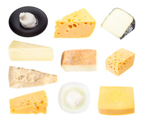 set from various cheeses isolated on white