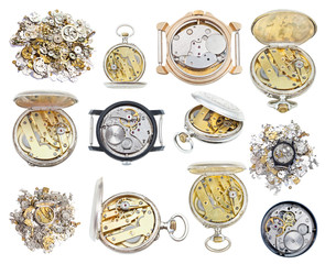 collection of old retro wathes and clock parts