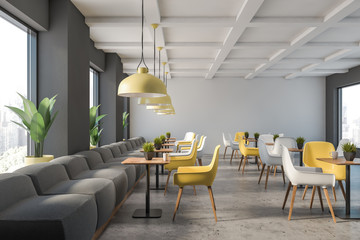 Gray and white family restaurant interior