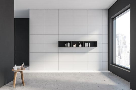 Empty gray and white bathroom interior