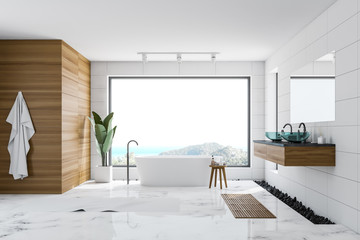 White and wooden panoramic bathroom