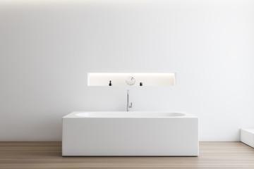 White bathroom interior with angular tub