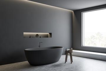 Gray bathroom corner with tub and shelf Wall mural