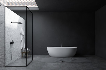 Gray bathroom interior, shower and tub