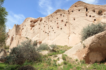 Cave dwellings in Cat Valley in Cappadocia, Turkey. The farmers carved Pigeon Houses into the stone to 'harvest' the dung (guano) as fertilizer.