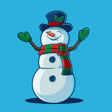 snowman with santa hat and scarf