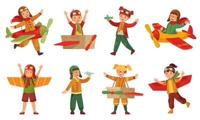 Kids in pilot costumes. Paper toy plane wings, adorable kids play with airplanes toys and child aircraft modeling. Young paper airplane pilot traveler game. Cartoon isolated icons vector set