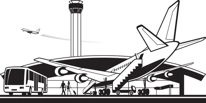 Aircraft landed at airport - vector illustration