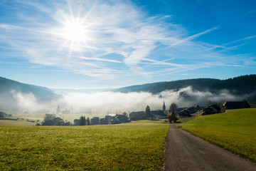 Village in the Black Forest in fog