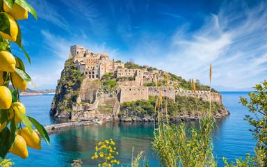 Aragonese Castle or Castello Aragonese located near Ischia Island, Italy. Wall mural