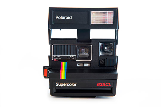 Polaroid 635CL instant vintage camera. Polaroid company was founded in 1937 in Cambridge, Massachusetts.