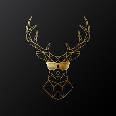 Golden polygonal Deer in glasses. Illustration isolated on black background. Geometric animal emblem. Vector illustration.
