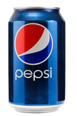 Can of Pepsi in studio. Pepsi is a carbonated soft drink created and developed in 1893 by  PepsiCo.