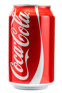 Can of Coca-Cola with white background. Coca-Cola is a carbonated soft drink produced by The Coca-Cola Company of Atlanta, Georgia.