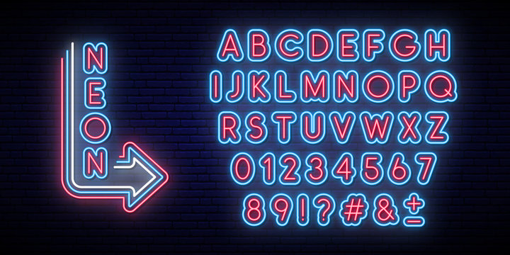 Neon glowing alphabet. Bright typeface. Set of neon letters and numbers. Alphabet on dark background.