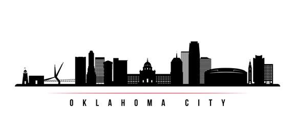 Oklahoma City skyline horizontal banner. Black and white silhouette of Oklahoma City, USA. Vector template for your design.