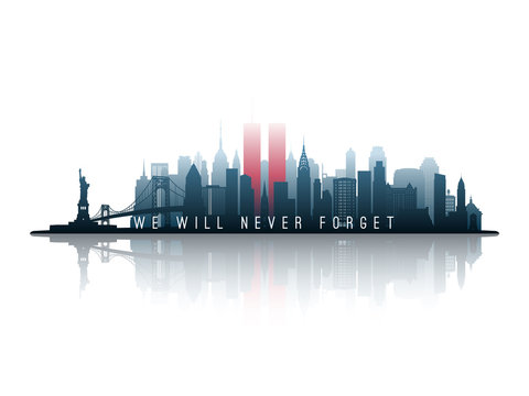 New York skyline silhouette with Twin Towers. 09.11.2001 American Patriot Day banner. NYC World Trade Center. Vector illustration.