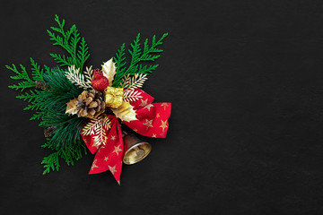 Noel or Christmas dark background with traditional decor element