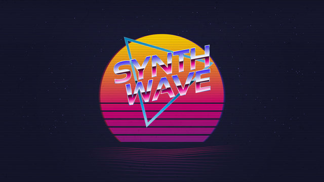 Vector Abstract Retro 80s Background With Neon Sunset Landscape. Vector EPS .10