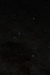 Cloudless starlit night sky with Southern Cross and bright stars as panorama view for wallpaper and copy space