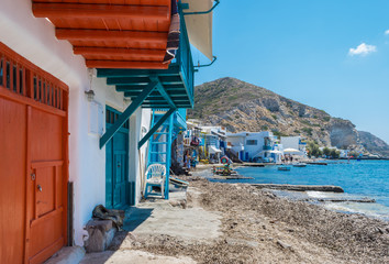 Picturesque colorful Klima fishing village in Milos island in Greece