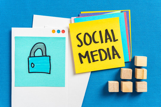 Social media privacy, Internet Security and Safe web surfing concept made with a illustration of padlock and social media text on blue textured background.