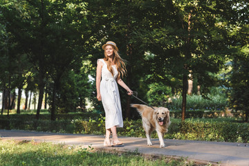 Wall Mural - full length view of beautiful girl in white dress and straw hat walking with golden retriever