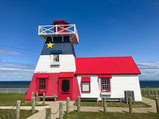 Grande Anse New Brunswick lighthouse painted in Acadian flag