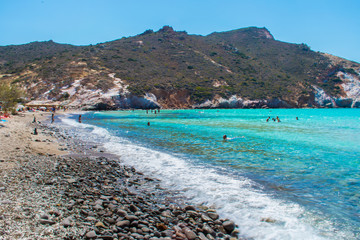 Plathiena beach with turquoise waters in Milos, Cyclades, Greece