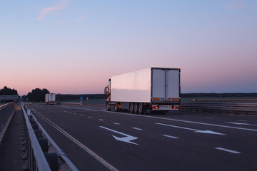 A convoy of trucks trucks transports the cargo in the evening on the highway, the concept of logistics and freight, copy space
