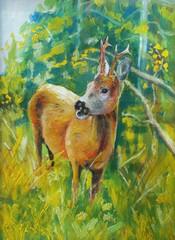 Ilustracja przedstawiająca sarnę na leśnej polanie.