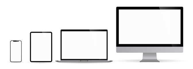 Realistic set monitors desktop laptop tablet and phone illustration vector illustrator Ai EPS