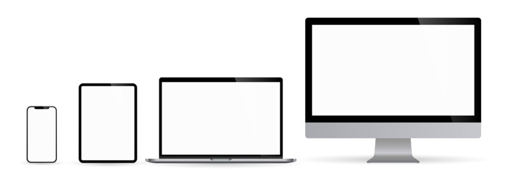 Realistic set of computer monitors desktop laptop tablet and phone illustration vector illustrator Ai EPS