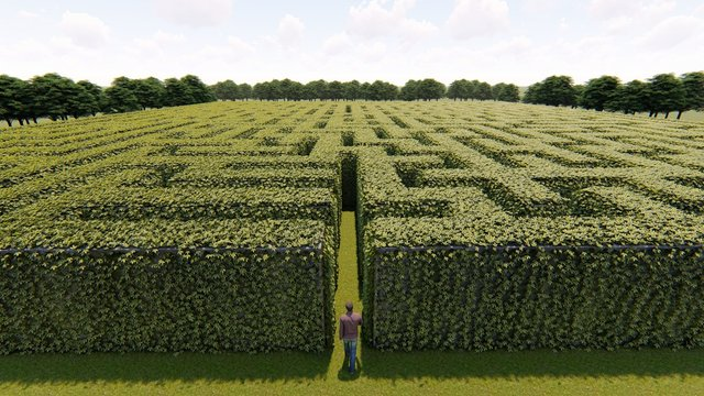 Man walking into big labyrinth 3D rendering