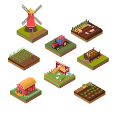 Isometric Illustration of Farms Objects