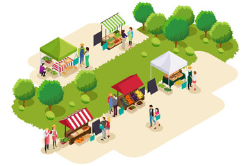 Isometric of People Shopping at Farmers Market Illustration