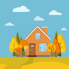 Autumn scenic field landscape background with yellow and orange trees, spruces, fences, rural cartoon house with chimney