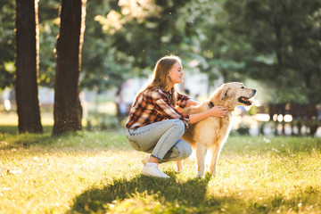 Wall Mural - side view of beautiful girl in casual clothes petting golden retriever while sitting on meadow in sunlight