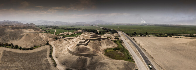 Aerial view of Paramonga fortress in Peru
