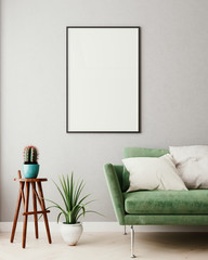 Vertical mock up poster frame in olive green modern interior background, living room, Scandinavian style, 3D render, 3D illustration