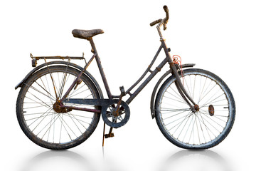 Spoed Foto op Canvas Fiets Rusty bike isolated on white, with reflection in floor