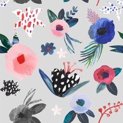 Artistic floral seamless pattern. Hand drawn by gouache