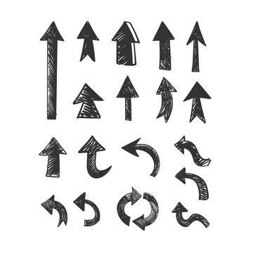 Hand drawn arrows set. Doodle arrow collection.