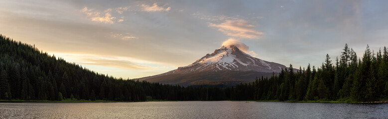 Wall Mural - Beautiful Panoramic Landscape View of Mt Hood during a dramatic cloudy sunset. Taken from Trillium Lake, Mt. Hood National Forest, Oregon, United States of America.