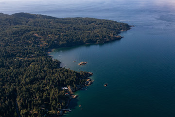 Aerial View of Bowen Island during a vibrant sunny summer morning. Located near Vancouver, British Columbia, Canada.